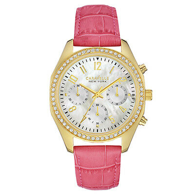 Caravelle New York Womens 44L169 Quartz Gold Chronograph Pink Leather 36mm Watch