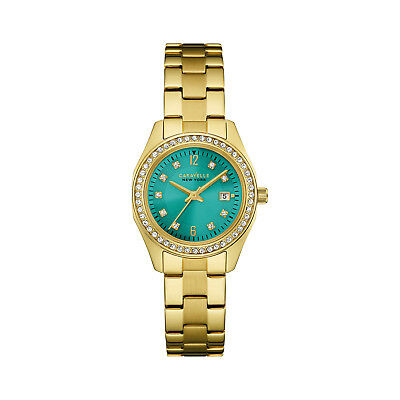 Caravelle New York Women's 44M109 Quartz Crystal Teal Dial Gold-Tone 28mm Watch