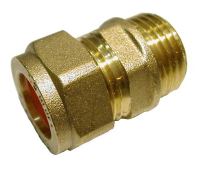 15mm Compression x 1/2 Inch BSP Male Adaptor straight Brass Plumbing Fitting uk