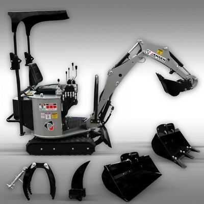 "Mini Excavator NEW incld.7"" 12"" 24"" buckets and grappler and tooth, Trencher"