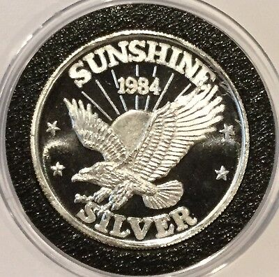 1984 Sunshine Mining 1/2 Troy Oz .999 Fine Silver Collectible Coin Round Medal