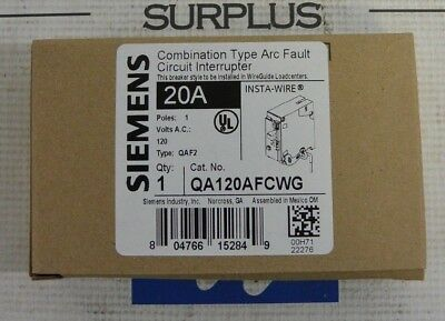 SIEMENS QA120AFCWG 1P 120V 20 AMP ARC FAULT CIRCUIT BREAKER w/ WIRE GUIDE - NEW