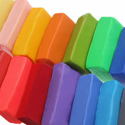 32x Colorful Soft Polymer Plasticine Fimo Effect Clay Blocks DIY Educational Toe
