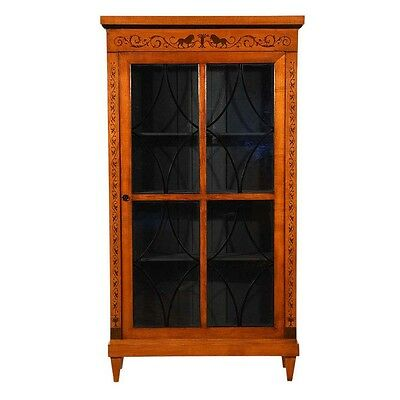 1900s Biedermeier-style Bookcase or Display Cabinet Glass Doors Marquetry Detail