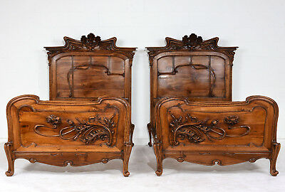 Pair of Art Nouveau Twin Bed Frames Hand Carved Original Walnut Stain Excellent