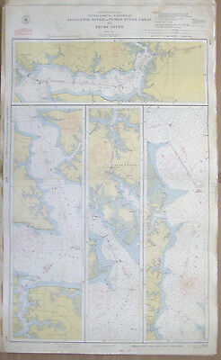 "Vtg 1951 C&GS Nautical CHART #832 INTRACOASTAL WATERWAY NC 24"" x 39"""