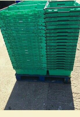 200 x Bail Arm Crates / Bale Arm Supermarket Style Plastic Boxes Stacking Trays