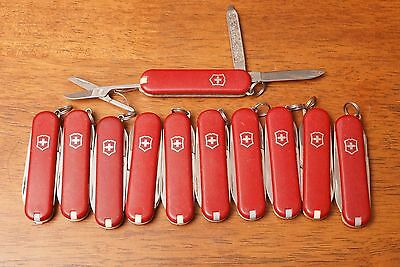 Lot of 10 Red Victorinox Classic SD Swiss Army knives knife used keychain knives