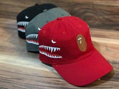 """BAPE"" Embroidered Dad Hat (BATHING APE HEAD & shark ) custom  supreme"