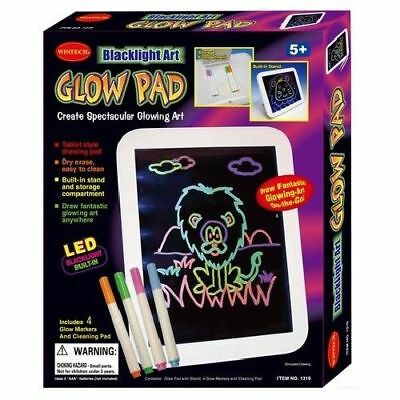 Blacklight ART Glow Pad INCLUDES 4 GLOW IN THE DARK MARKERS