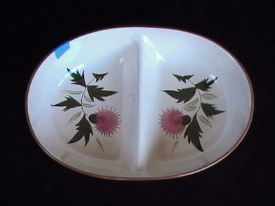 """Stangl Pottery Pink Thistle 10"""" Divided Vegetable Brown/Green"""