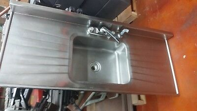 Single Basin Stainless Steel Sink w/ Double Drainboards, Faucet, and Sprayer