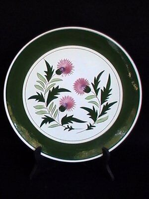 """Stangl Pottery Pink Thistle 12"""" Chop Plate/Round Platter Brown/Green"""