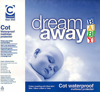 Crestell Dream Away Baby Cotton Towelling Cot Waterproof Mattress Protector New