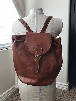 Nordstroms Vintage Leather Backpack Made In Italy Brown