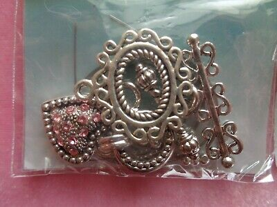 JEWELRY CLOSURES TOGGLES LARGE ROSE TWO SETS FEATURING SWAROVSKI CRYSTALS
