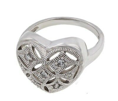 Sterling Silver Vintage Filigree Heart Shape Ring with Natural Diamond Accent