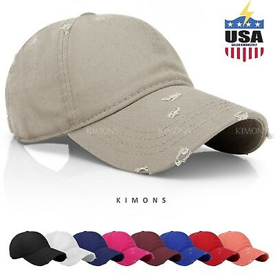 Distressed Solid Cotton Vintage Baseball Ball Cap Hat Dad Adjustable men women