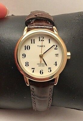 Timex T20071 Brown Leather Band Brass Case Analog Dress Women's Watch-H10