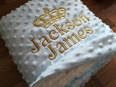 Crown Dimple  White Pink Blue Boy Girl Personalised Embroidered Baby Blanket