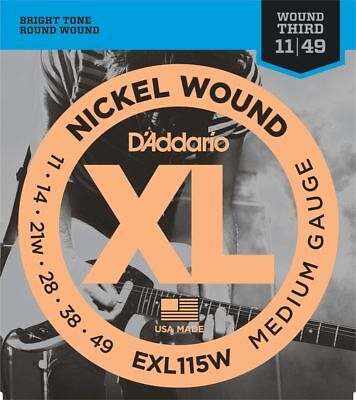 2 Sets D'Addario EXL115W Electric Guitar Strings 11-49 Wound 3rd String