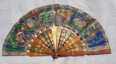 Antique Chinese Hand Fan 100 Faces Lacquered
