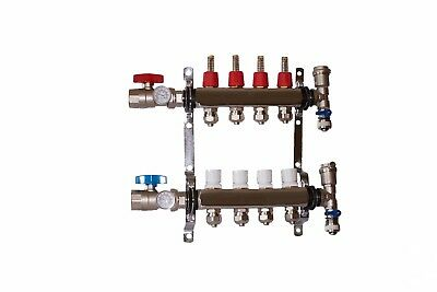 "4 Loop/Branch 1/2"" Pex Manifold Stainless Steel Radiant Floor Heating Set/Kit"