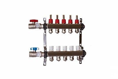 "5 loop/branch 1/2"" Pex Manifold with ball valve Stainless steel Radiant Heating"