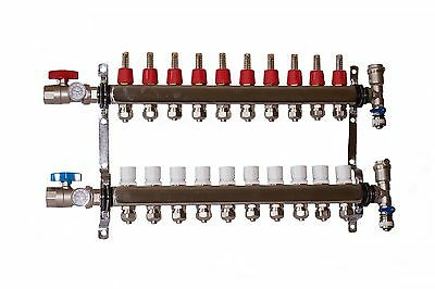 "10 Loop/branch 1/2"" Pex Manifold Stainless Steel Radiant Floor Heating Set/kit"