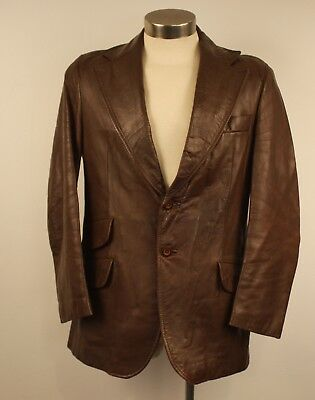 MEDIUM 38 .BROWN LEATHER MENS JACKET. ORIGINAL VINTAGE 1970s