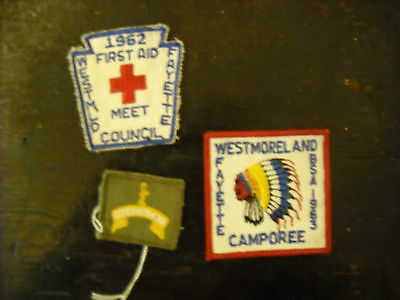 Lot 3 Vintage Boy Scouts of America BSA  Patches 1962 1963 WESTMORELAND FAYETTE