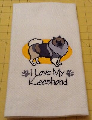 I Love My Keeshond Embroidered Kitchen Hand Towel 100% cotton, Xlarge