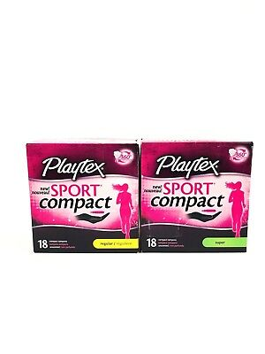 2 Playtex Sport Compact Tampons Unscented 18 Regular 18 Super 36 Total (B1)