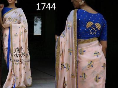 Indian Bollywood Designer Traditional Saree Latest Fashionable Ambrela Work SM