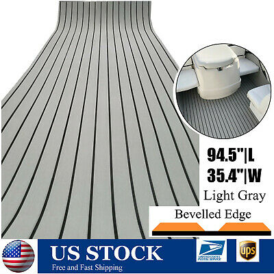 "Bevel Edge EVA Faux Teak Deck Sheet For Boat Yacht 94.5""×35"" Grey Flooring Mat"