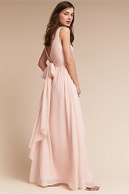 4ba90393308c NEW Anthropologie Carnegie Dress BHLDN WTOO Watters Sz 12 Long Maxi ICE PINK