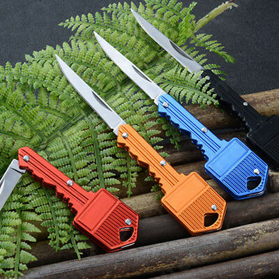 Portable Outdoor Survival Pocket Folding Stainless Steel Key Shape Knife Braw