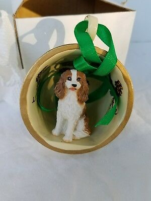 Cavalier King Charles Spaniel Dog Christmas Holiday Tea Cup Ornament Figure