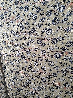 Beautiful Grey and blue floral soft Silk Long Japanese Vintage Silk Kimono