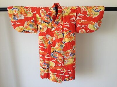 Vintage Child's Decorative Silk Japanese Kimono Authentic Costume Hand Made