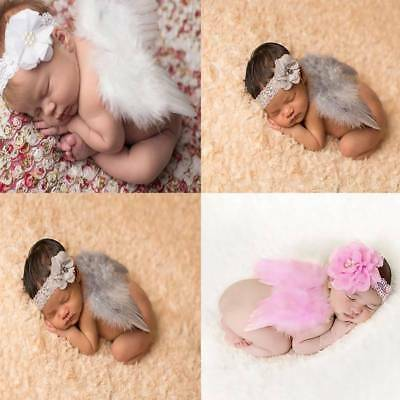Newborn Baby Angel Wings + Headband Costume Photo Photography Props Outfits Set