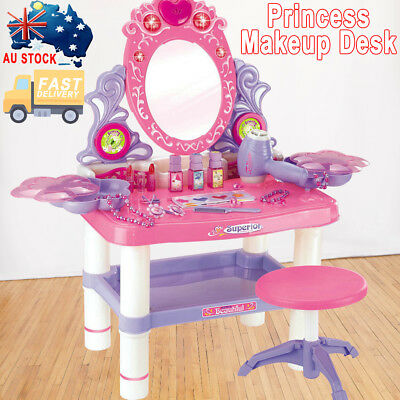 Kids Dressing Table Pretend Play Toy Set Girls Beauty Make Up Vanity Desk Pink