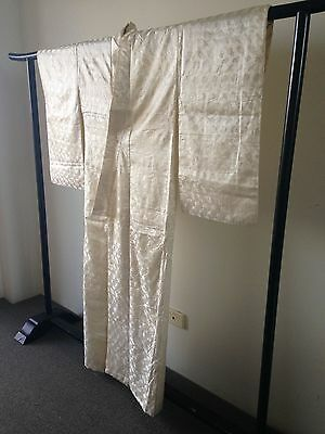 Japanese Kimono Woven Vintage Cream Silk Costume Robe Hand Made One of a Kind