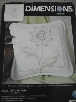 Textured Floral Crewel Embroidery Kit by Dimensions. Cushion front. started.