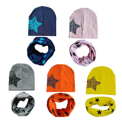 Baby Hat Scarf Kids Girls Boys Cotton Winter Star Knit Skullies Beanies Scarves