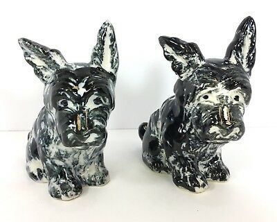Vtg Ceramic Australian Yorkshire Terrier Dog Figurines Made In Occupied Japan