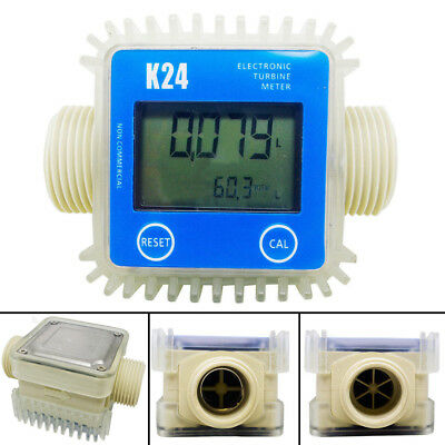 K24 1'' LCD Digital Turbine Gauge For Diesel Chemicals Water Oil Fuel Flow Meter