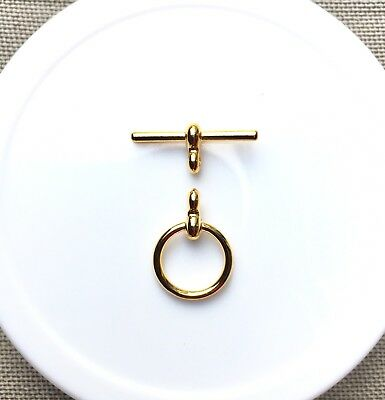 "Toggle/Clasp, Gold-Plated ""Pewter"", 12mm Smooth Flat Round. 5 sets per pack."