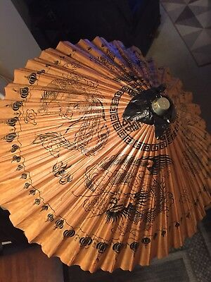 Vintage Asian Dragon Bamboo Rice Paper Parasol Umbrella w/ Wooden Handle