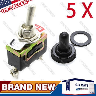 5 X SPST 2Pin Heavy Duty ON/OFF Rocker Toggle Switch Waterproof Boot 10A 15A125V
